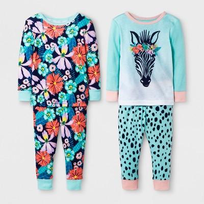 Baby Girls' Zebra 4pc Pajama Set - Cat & Jack™ Mint 18M