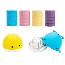 Munchkin Color Buddies Moisturizing Bath Water Color Tablets and Toy Dispenser - 20 Tablets and 2 Toy Dispensers