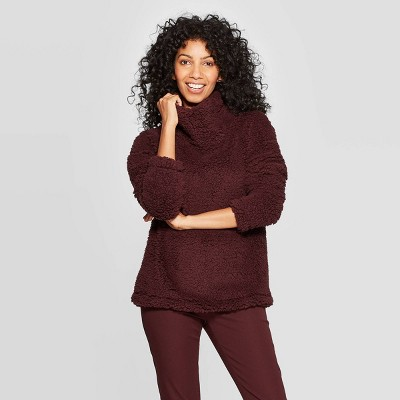 Women's Any Day Turtleneck Sherpa Pullover - A New Day™ Burgundy M