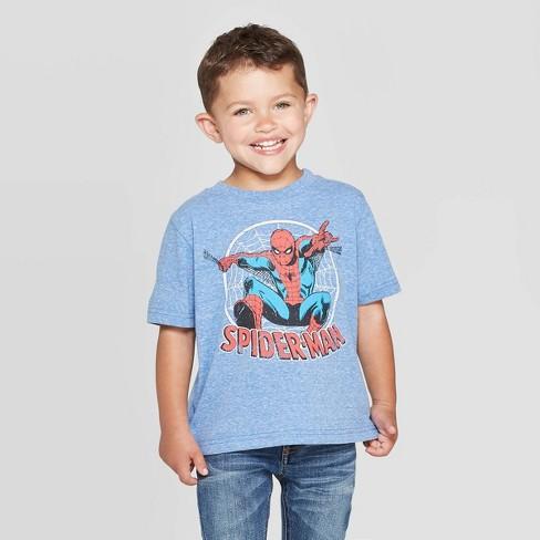 Toddler Boys' Disney Spider-Man Short Sleeve T-Shirt - Heather Blue - image 1 of 3