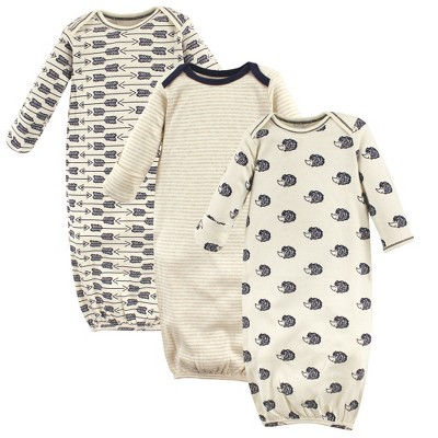 Touched by Nature Baby Boy Organic Cotton Long-Sleeve Gowns 3pk, Hedgehog, 0-6 Months