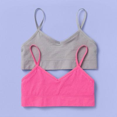 Girls' 2pk V-Neck Long Line Ribbed Bra - More Than Magic™ Pink/Gray