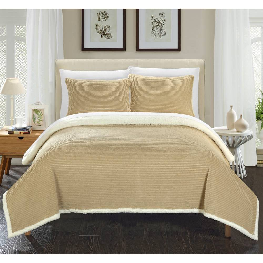 Image of 2pc Twin Estonia Sherpa Blanket Set Taupe - Chic Home Design, Brown