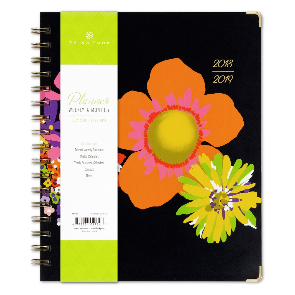 2018 Trina Turk Planner Printed Lgb 7x9 Weekly/Monthly Wire-bound - Bay Street Bloom, Multi-Colored