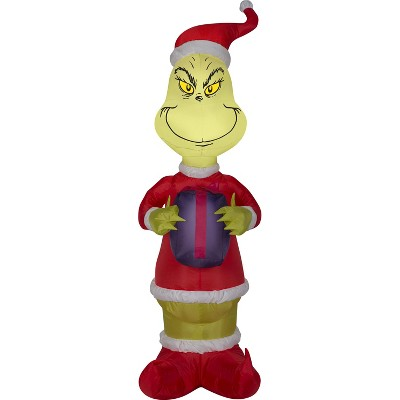 Gemmy Christmas Airblown Inflatable Grinch w/Present Dr. Seuss, 4 ft Tall, Multicolored