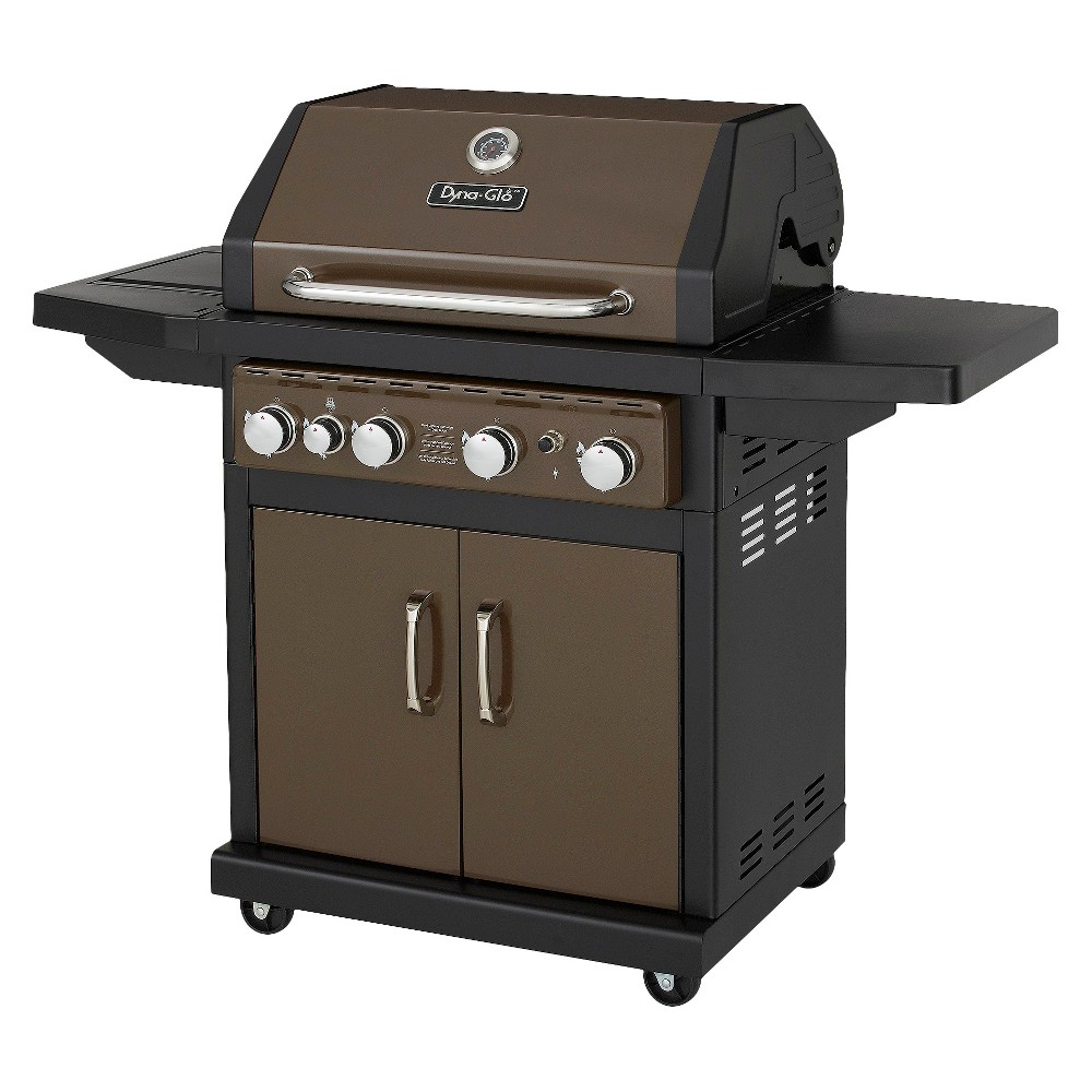Dyna-Glo Bronze 4-Burner 60,000 Btu Propane Gas Grill with Side Burner, Black 15150370