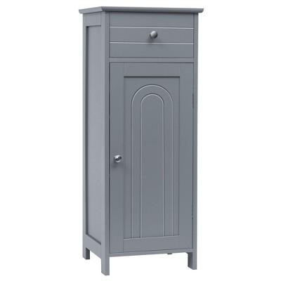 Costway Bathroom Floor Cabinet Storage Organizer Free-Standing w/ Drawer Grey\Black\Brown