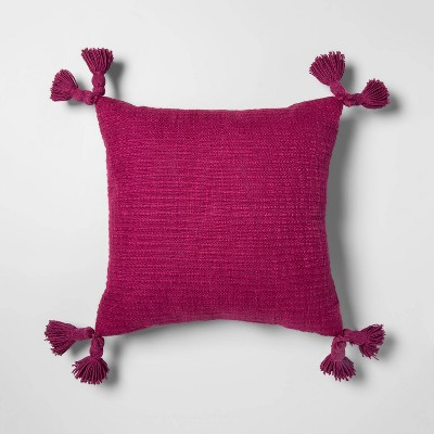 Textured With Tassels Square Throw Pillow Purple - Opalhouse™