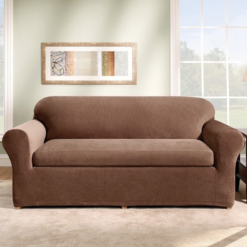 Stretch Rib 3 Piece Sofa Slipcover Oar Brown Sure Fit Target