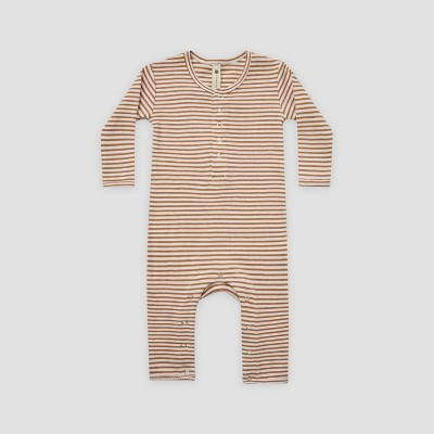 Q by Quincy Mae Baby Striped Rib Long Sleeve Romper - Ivory/Clay Brown 0-3M