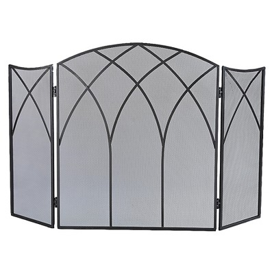 Pleasant Hearth Gothic Fireplace Screen - Black