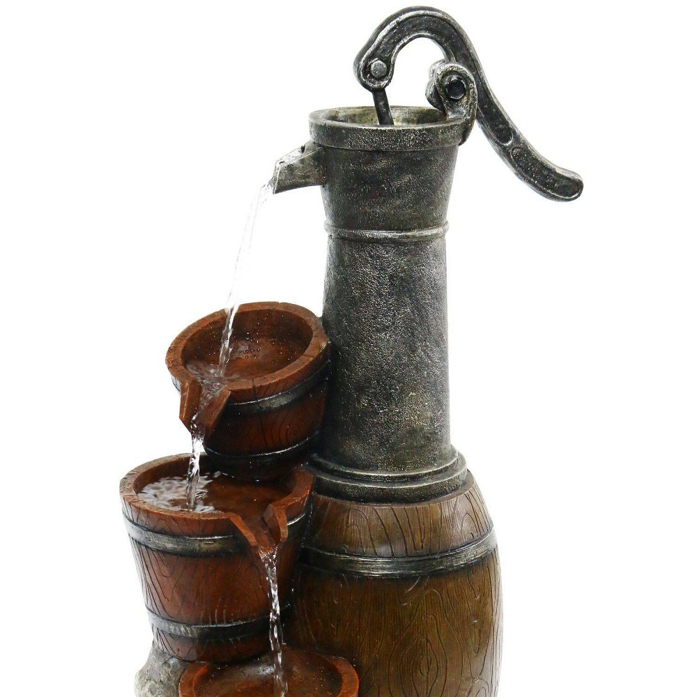 "Image of ""24"""" Vintage Barrel Water Pump With Buckets Fountain - Alpine Corporation"""