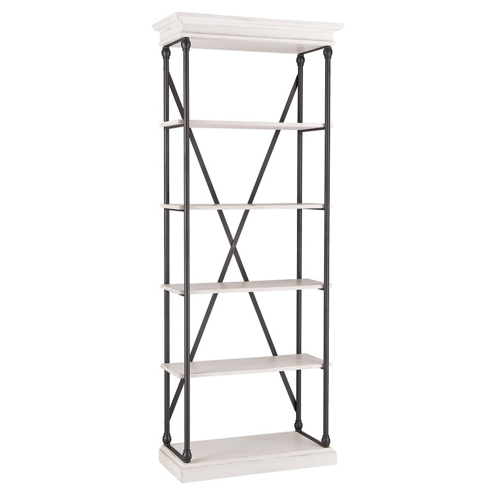 Belvidere 5 - Shelf Narrow Etagere Bookshelf - 84 - White - Inspire Q, White/Black