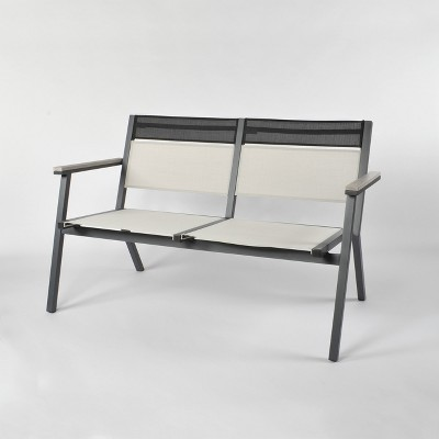 Split Sling Patio Stack Bench Gray/Linen - Project 62™