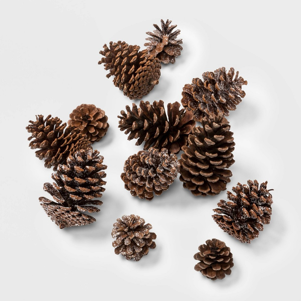 Image of 12ct Artificial Christmas Glitter Pinecones - Wondershop , Brown