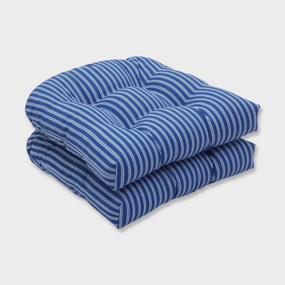 2pk Resort Stripe Wicker Outdoor Seat Cushions Blue Pillow Perfect