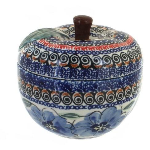 Blue Rose Polish Pottery Blue Art Apple Baker - image 1 of 1