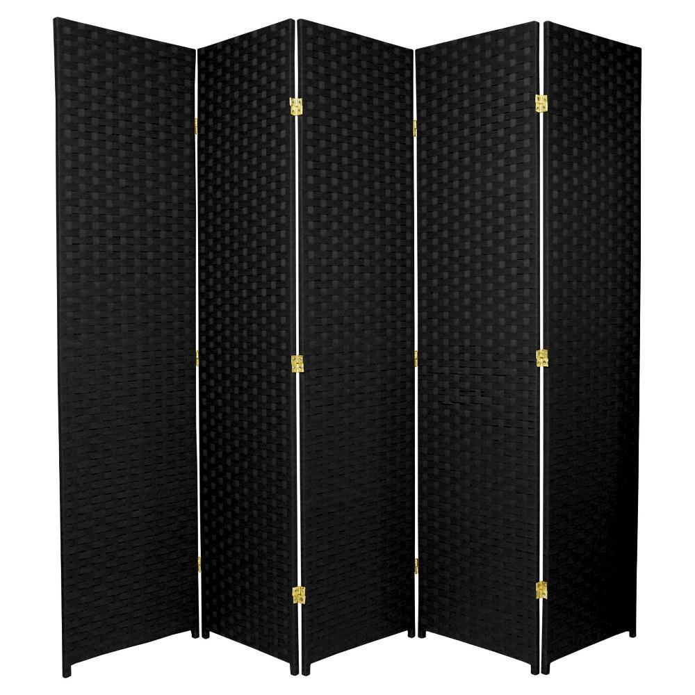 6 ft. Tall Woven Fiber Room Divider - Black (5 Panels)