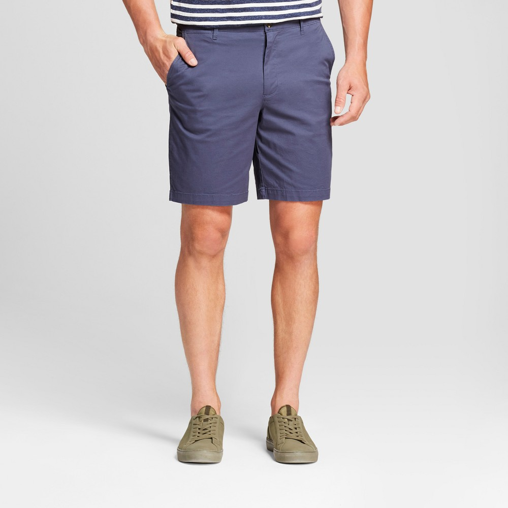 Men's 9 Linden Flat Front Chino Shorts - Goodfellow & Co Slate Blue 36