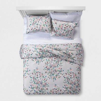 Gray Floral Paisley Duvet Cover Set (Full/Queen)- Threshold™
