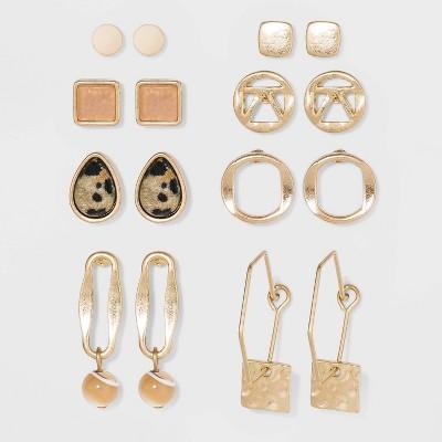 Semi-Precious Brown Lip Shell & Jasper Multi Earring Set 8pc - Universal Thread™