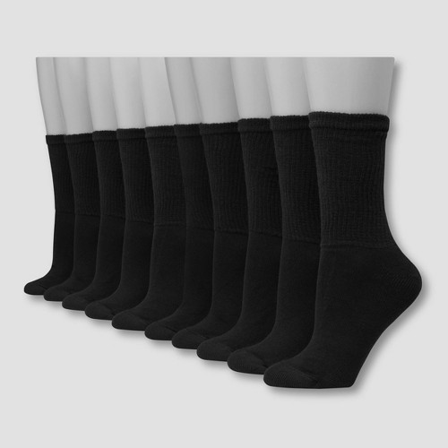 Hanes Women's Extended Size Cushioned 10pk Crew Socks - Black 8-12, Women's, Size: Small