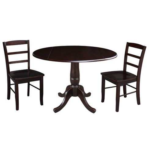 """29.5"""" Christine Round Top Pedestal Table with 2 Chairs Mocha Brown - International Concepts - image 1 of 3"""