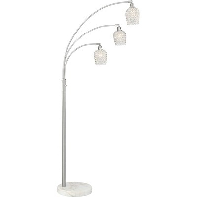 Possini Euro Design Modern Arc Floor Lamp Brushed Nickel 3-Light Marble Base Faceted Crystal Glass Shades for Living Room Reading