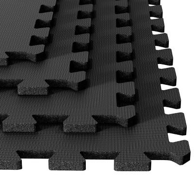 Trademark Global 4pc Stalwart Ultimate Comfort Black Foam Flooring