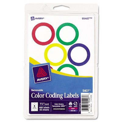 """Avery Printable Removable Color-Coding Labels 1 1/4"""" dia Assorted 400/BX 5407"""