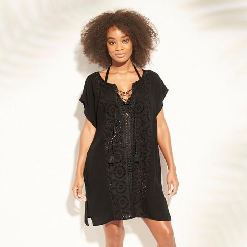 73760fad29da3 Women s Lace-Up Eyelet Cover Up Dress - Kona Sol™ Black XL   Target