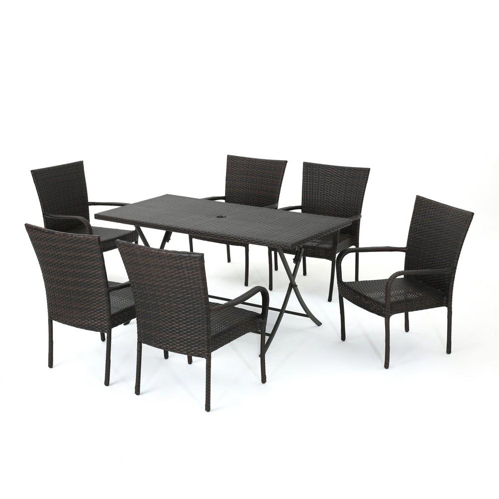 Neva 7pc Wicker Dining Set - Brown - Christopher Knight Home