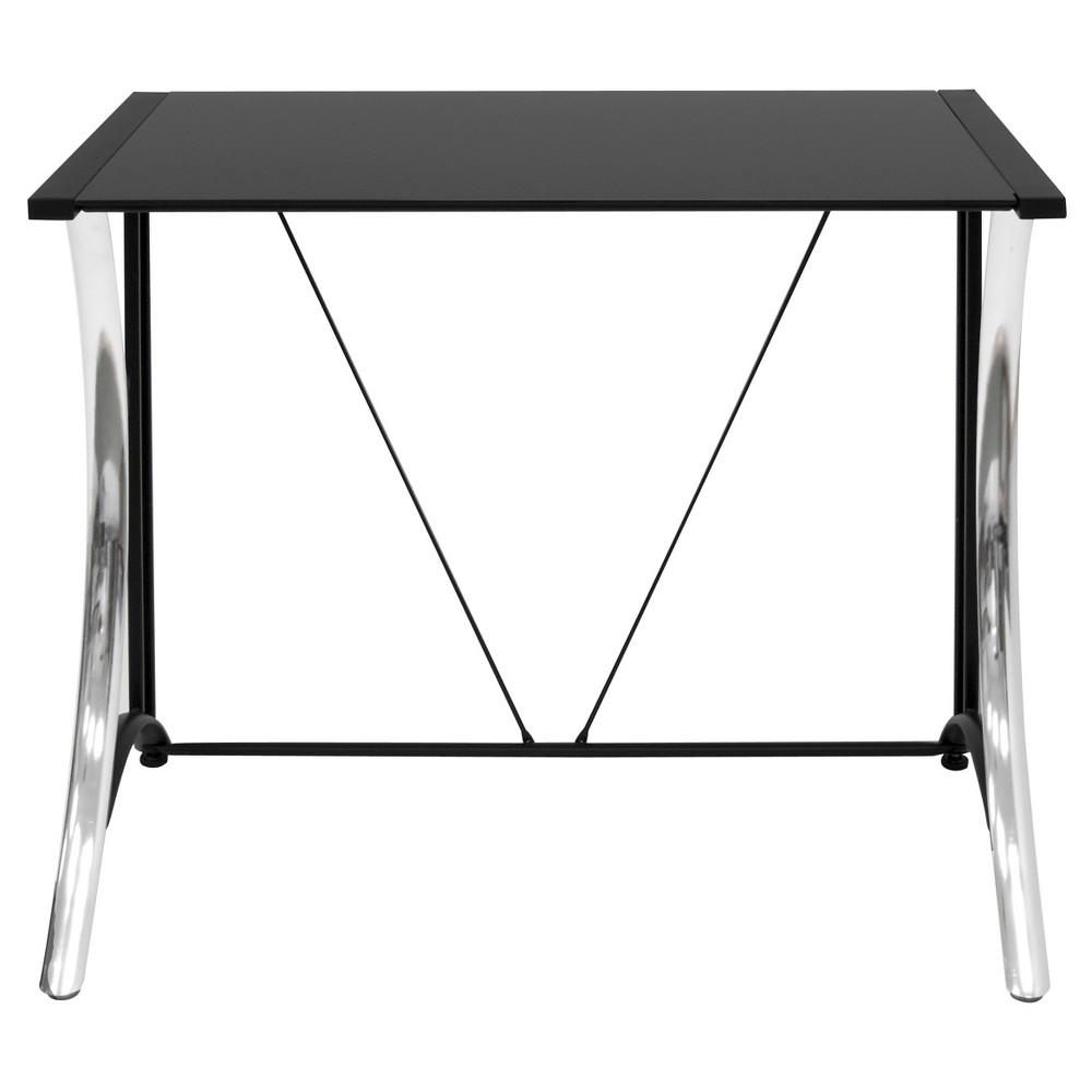 Monterey Writing / Laptop Desk - Chrome / Black Glass, Black/Grey