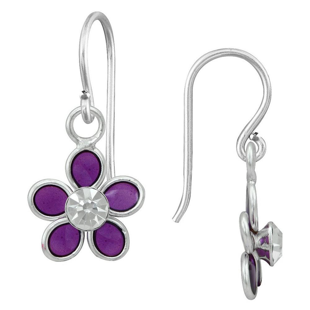 Girls' Sterling Silver Crystal Flower Dangle Earring-Purple