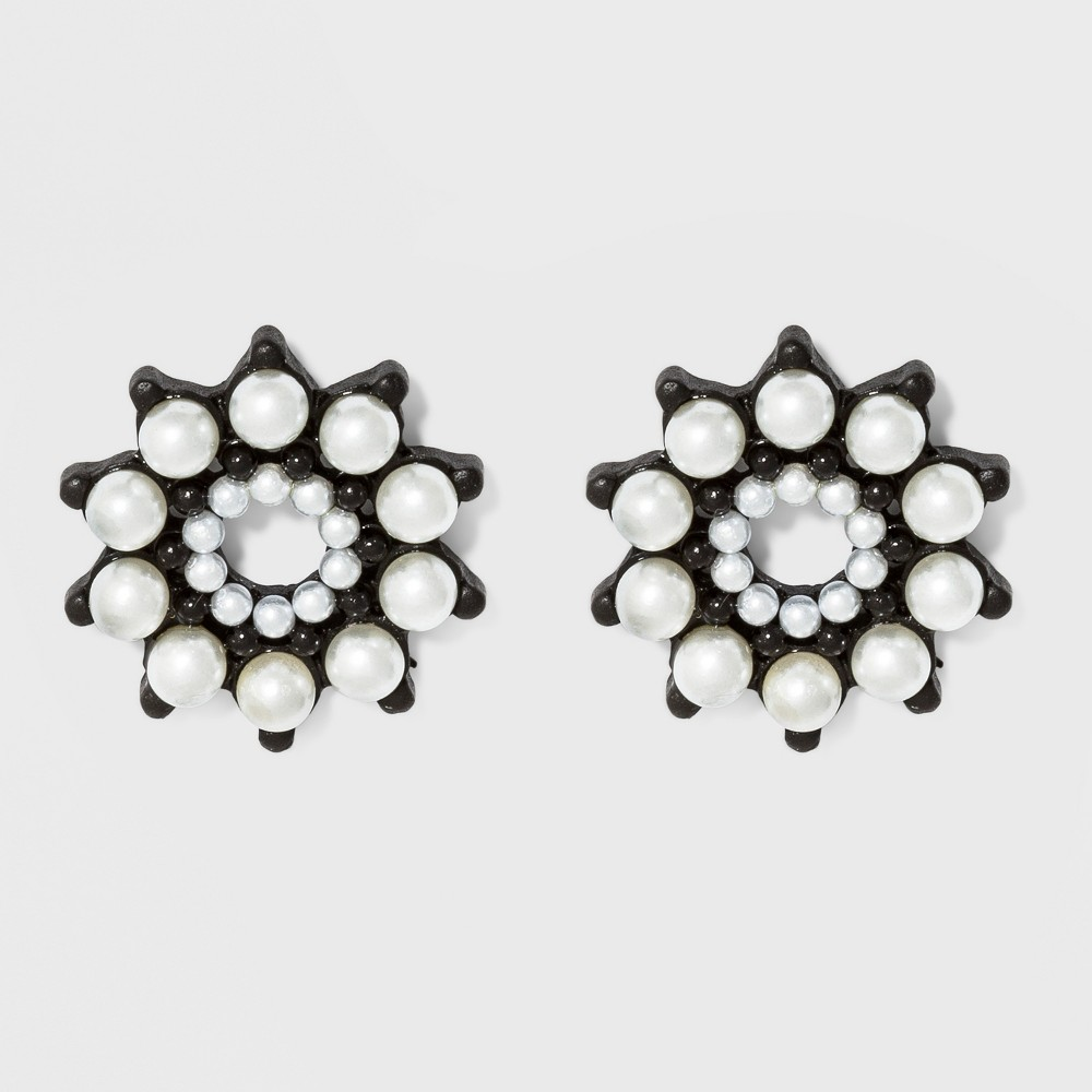 Button with Simulated Pearl in Floral Shape Earrings - A New Day, Multi-Colored