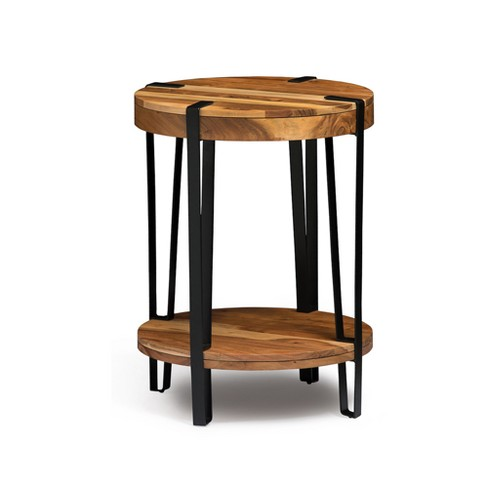 "Alaterre Furniture 21"" Ryegate Natural Brown Live Edge Solid Wood Round End Table Metal And Wood - image 1 of 4"