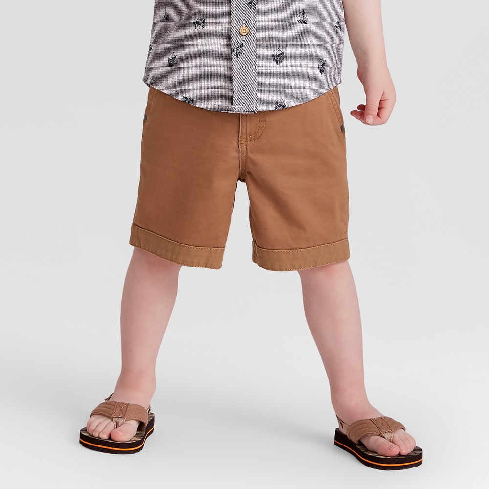 Image of Genuine Kids from OshKosh Toddler Boys' Chino Shorts - Brown 12M, Toddler Boy's