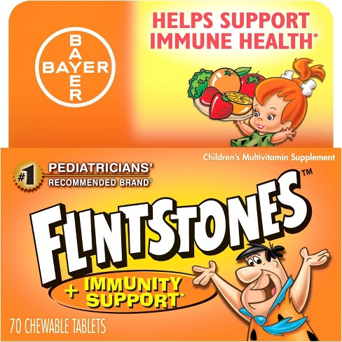Flintstones Multivitamins Plus Immunity Support Dietary Supplement Chewable Tablets - Mixed Fruit - 70ct - image 1 of 4