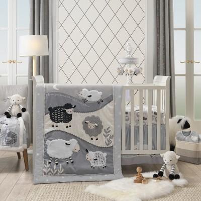 Lambs & Ivy Little Sheep Gray/White Nursery 4-Piece Baby Crib Bedding Set