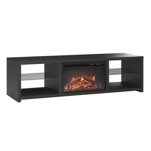 "70"" Bryan Fireplace TV Stand Black - Room & Joy - image 1 of 4"