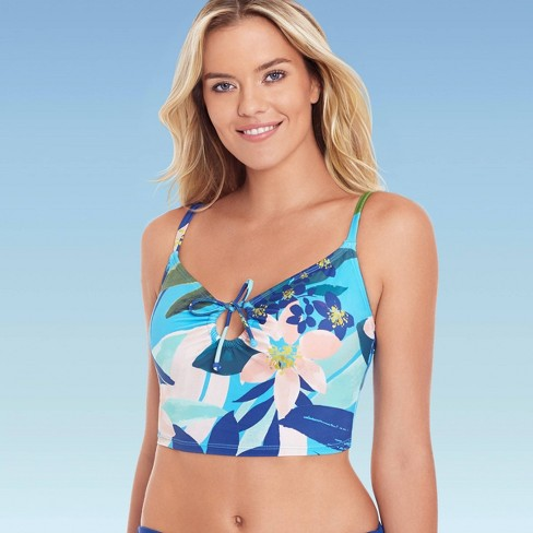 Women's Slimming Control Keyhole Front Crop Bikini Top - Beach Betty by Miracle Brands Tropical Print - image 1 of 4