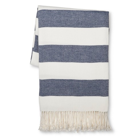 Striped Throw Blanket Navy Threshold