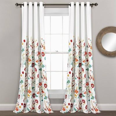 Set of 2 Clarissa Floral Room Darkening Window Curtain Panels - Lush Décor
