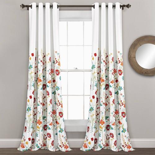 "Set of 2 (95""x52"") Clarissa Floral Light Filtering Window Curtain Panels Blue/Orange - Lush Décor"