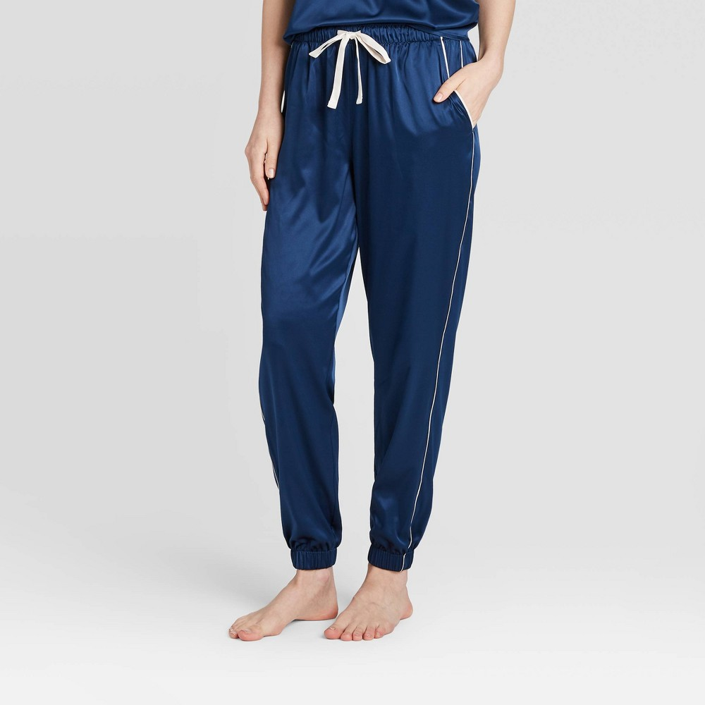 Image of Women's Satin Jogger Pajama Pants - Stars Above Navy XXL, Women's, Blue