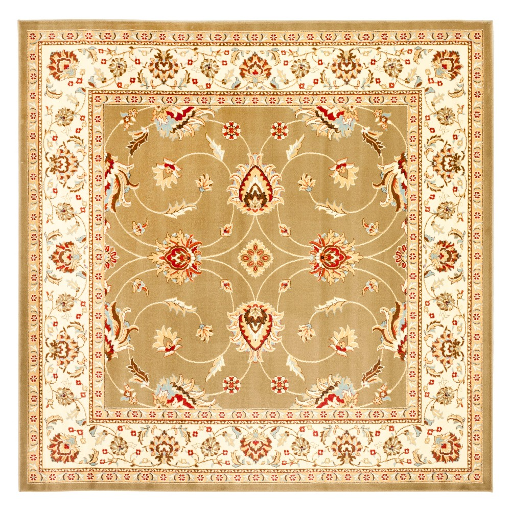 6 7 X6 7 Floral Loomed Square Area Rug Green Ivory Safavieh