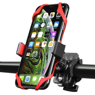 Insten Bicycle Motorcycle Bike Phone Holder Mount Stand With Secure Rubber Strap Grip & 360 Adjustable Ball Head