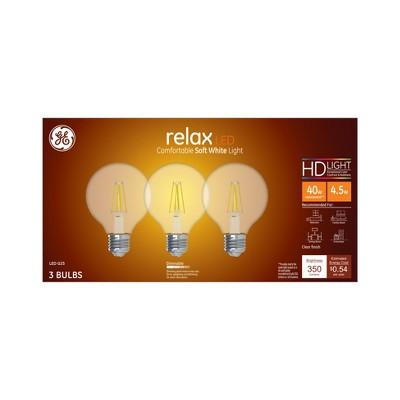 General Electric 3pk 40W Ca Relax LED Light Bulb SW G25 Globe Clear