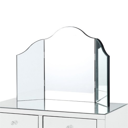 Mathew Tri-fold Tabletop Vanity Mirror - Frameless in Clear - Posh Living - image 1 of 3