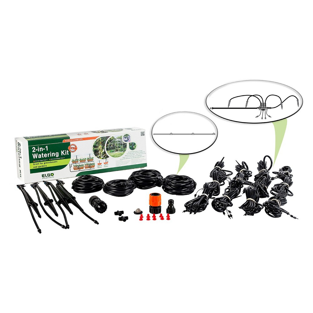Image of 2 - In - 1 Watering Kit Misting Sprinklers And Dripper Set - Black - Elgo